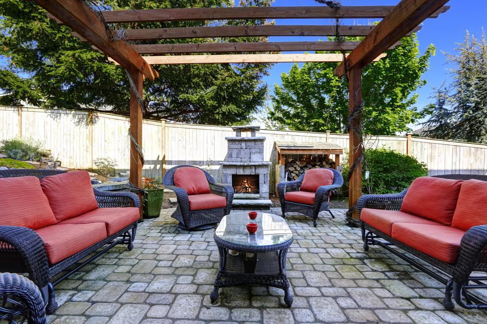 Outdoor patio in backyard