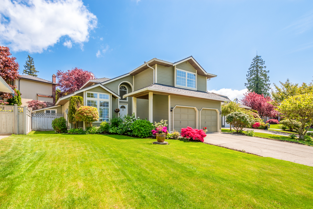 Exterior landscaping around a house