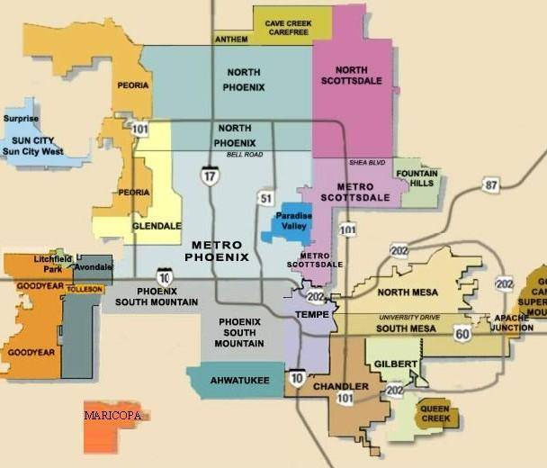 Map of Phoenix neighborhoods