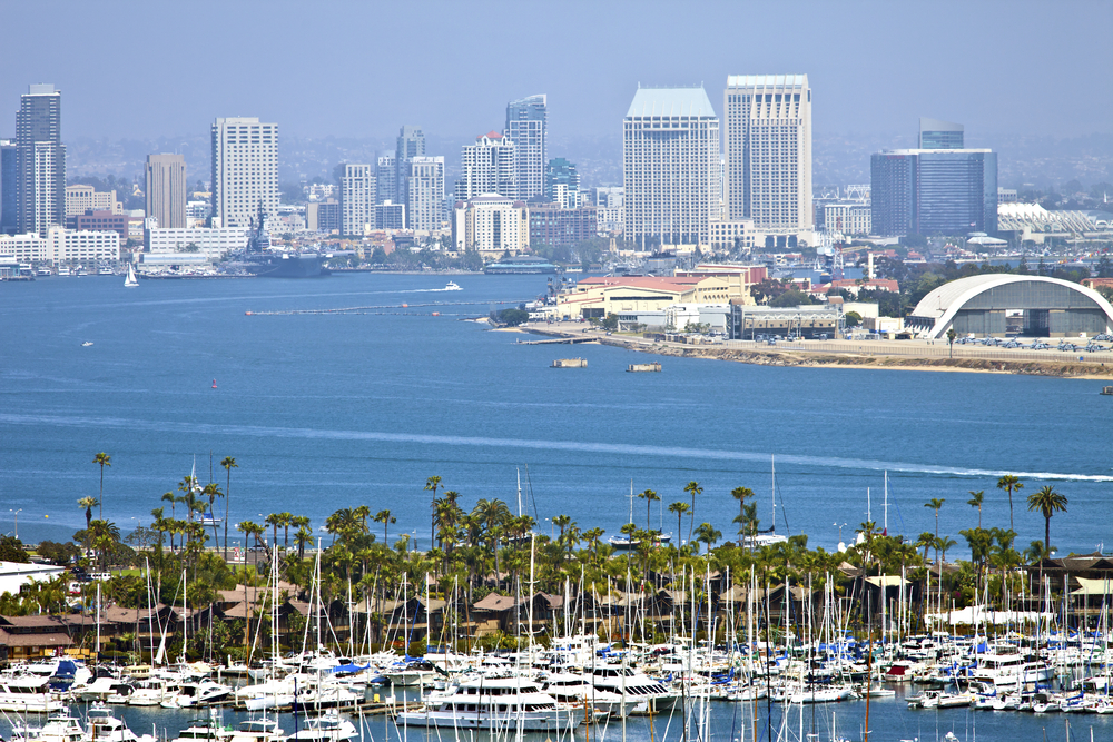 San Deigo bay with skyline in background