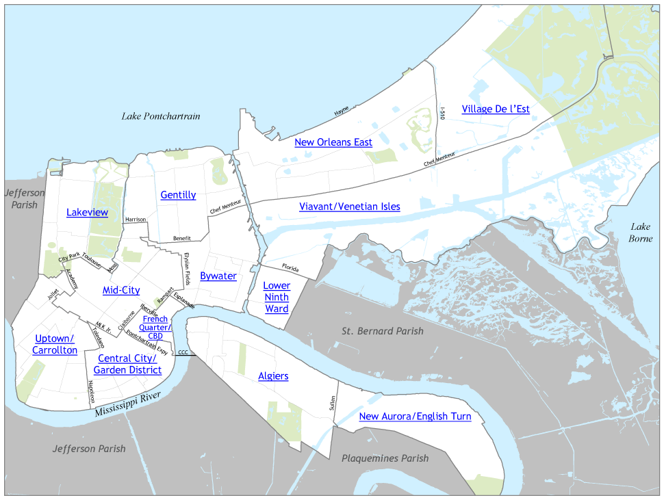 Map of New Orleans neighborhoods