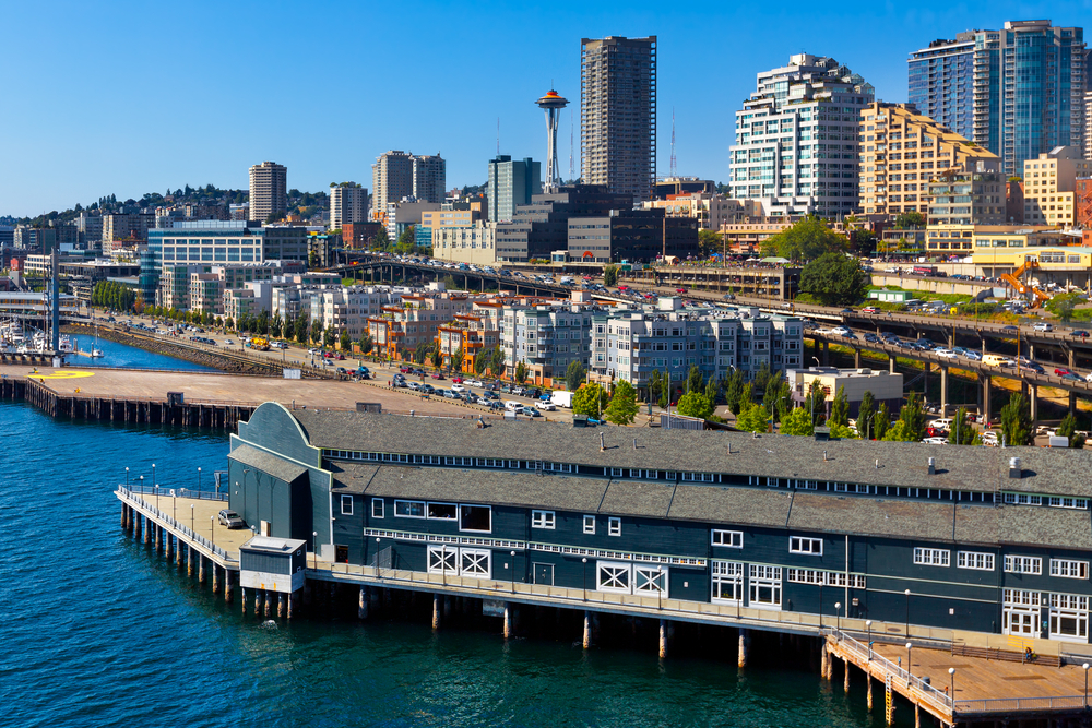 View of Seattle real estate from waterfront