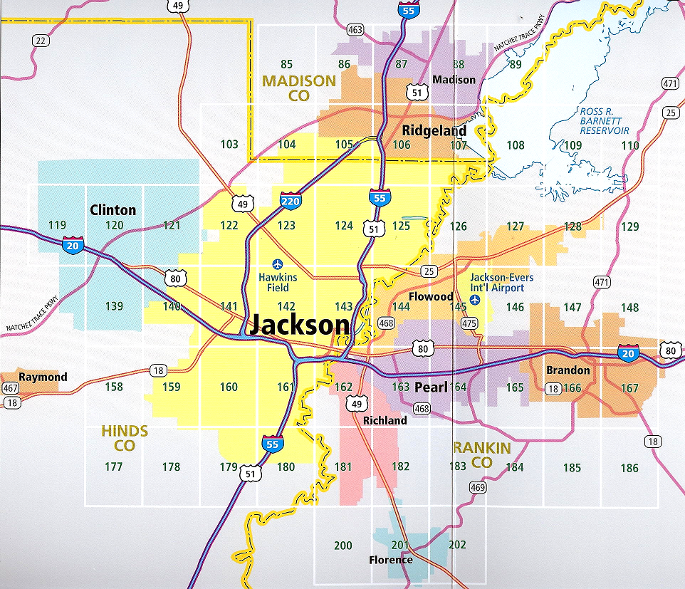 Map of Jackson neighborhoods