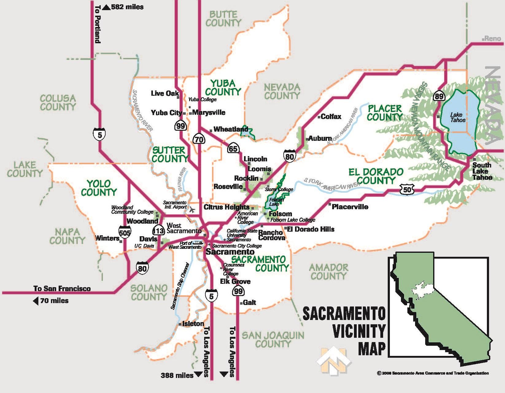 Map of Sacramento neighborhoods