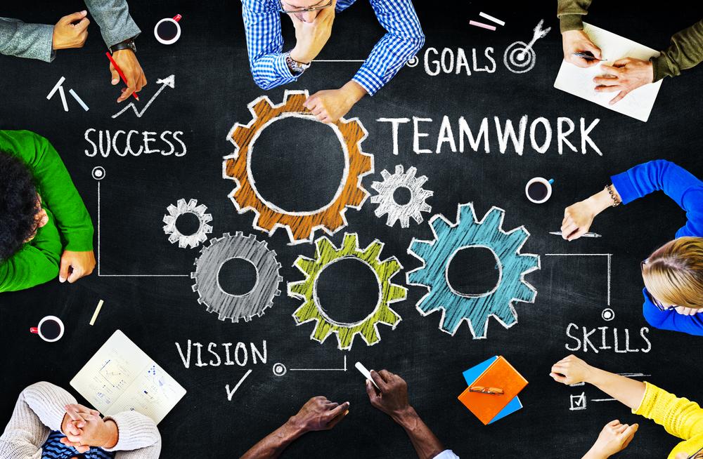 Marketing team discussing goals