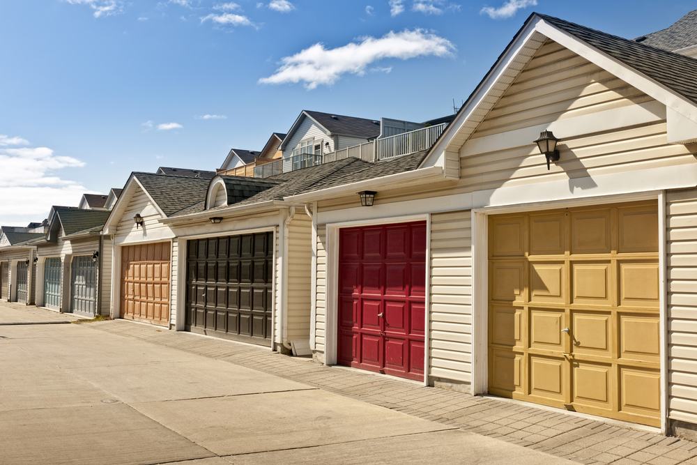 Row of garage doors