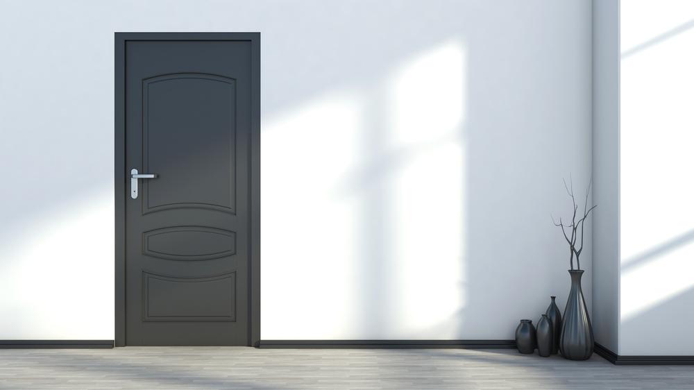 Interior door with black trim