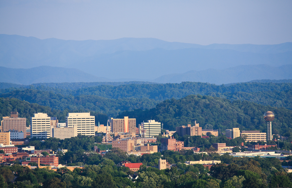 Knoxville skyline with mountains in the back