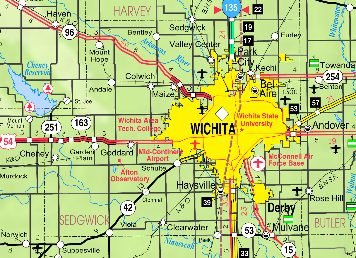 Map of Wichita neighborhoods