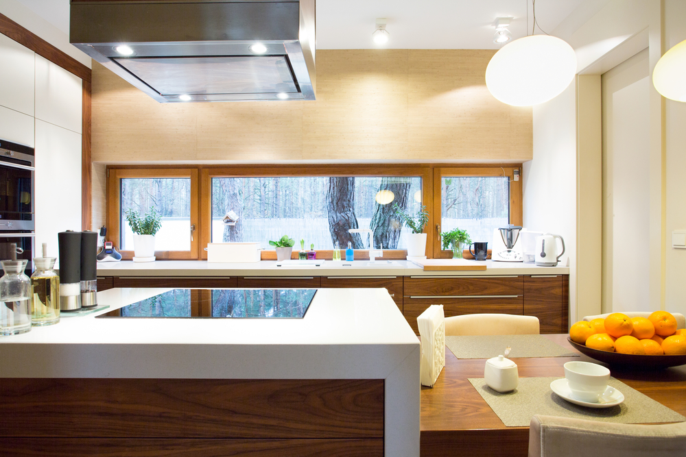 Kitchen with wood and marble countertops