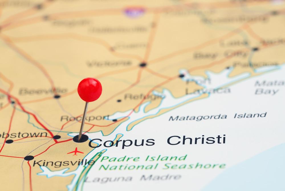 Corpus Christi on a map