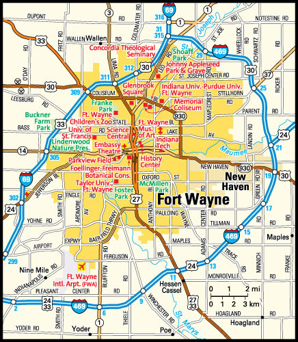 Map of Fort Wayne neighborhoods