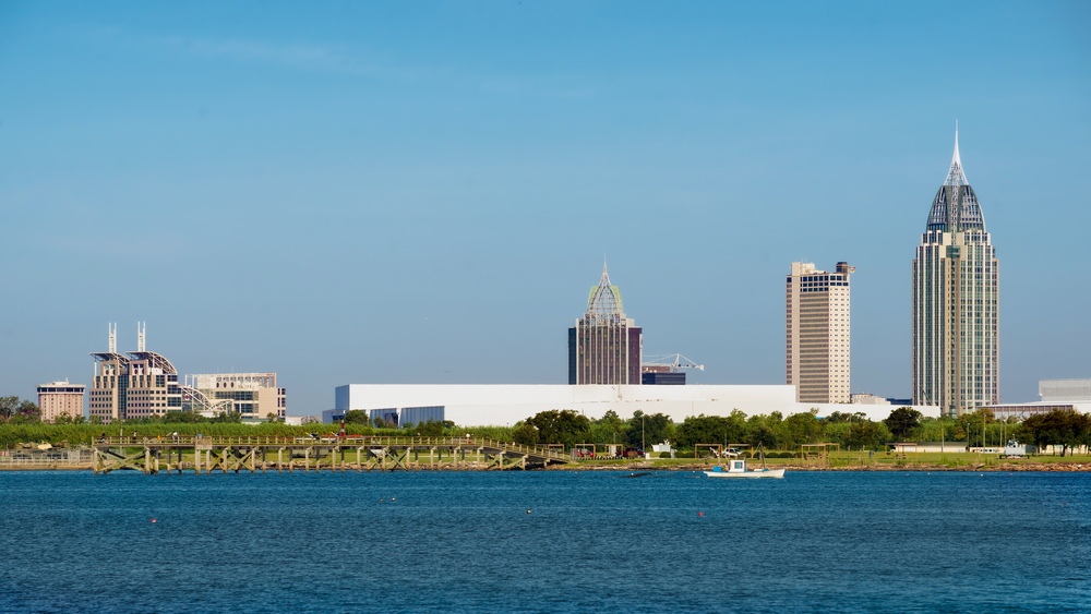 View of downtown Mobile, Alabama from the bay