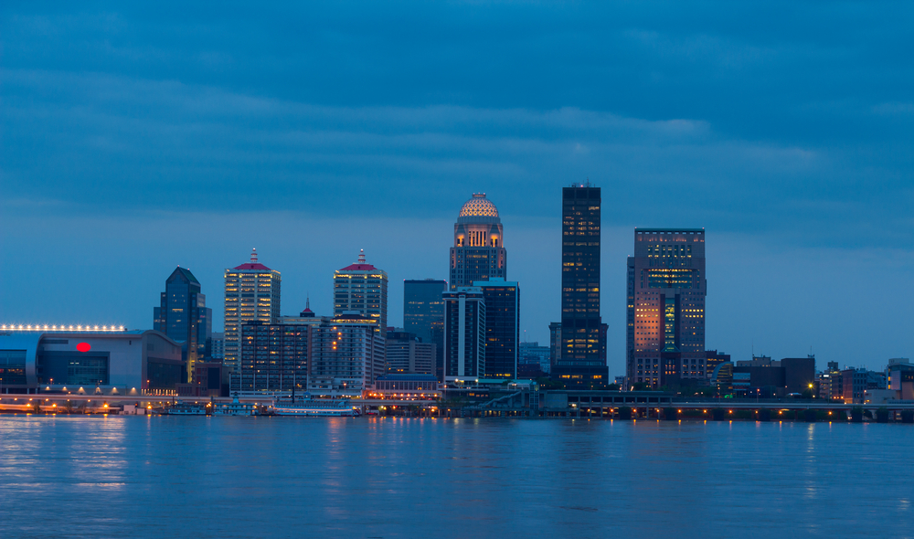 View of Louisville skyline at dusk