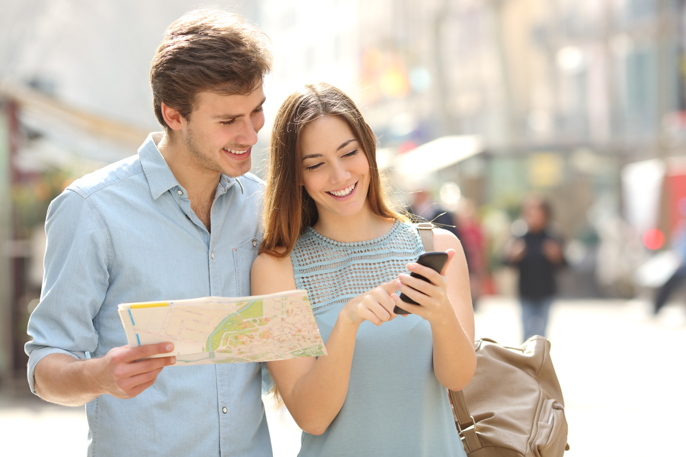 Man and woman looking at a map