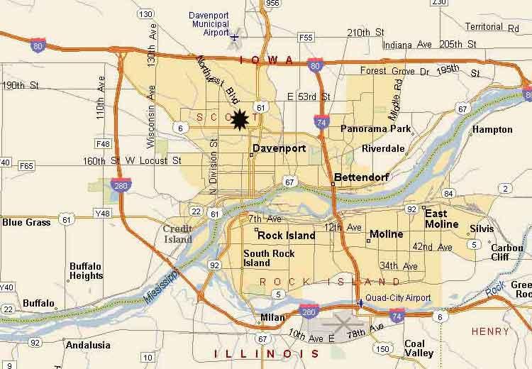 Map of Davenport neighborhoods