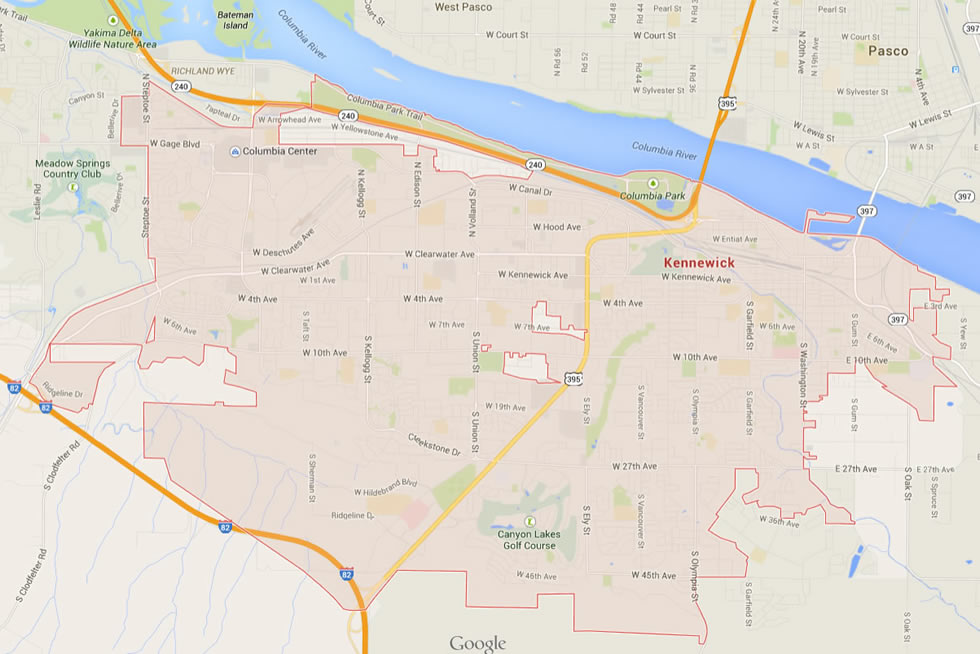 Map of Kennewick, WA neighborhoods.
