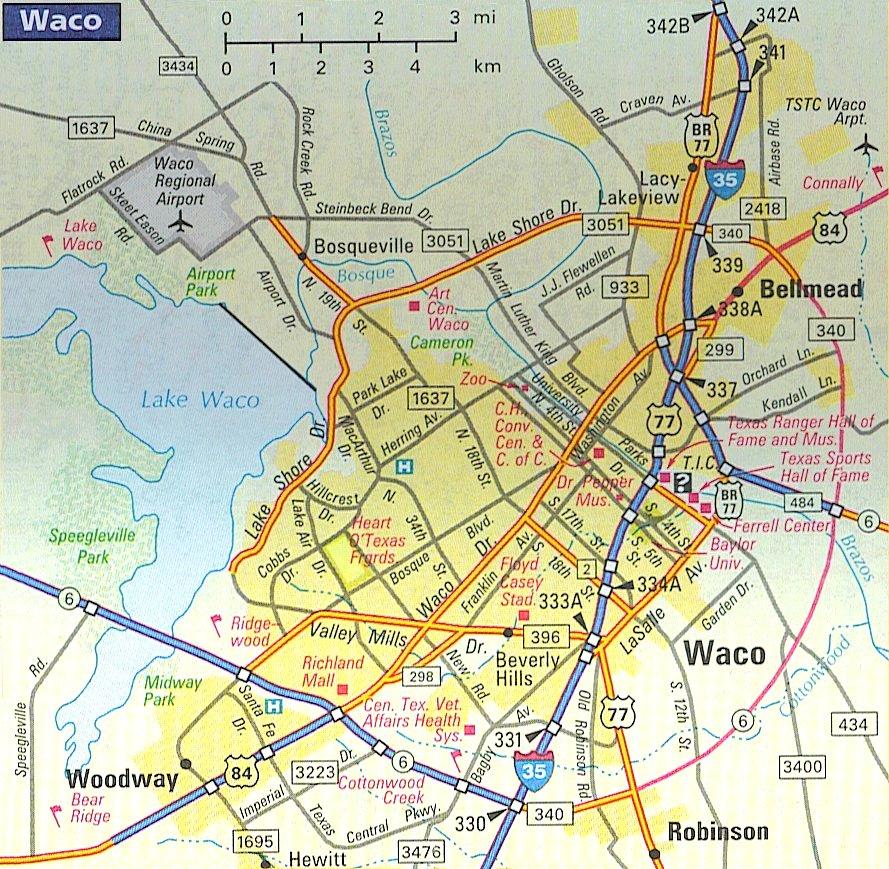 Map of Waco neighborhoods