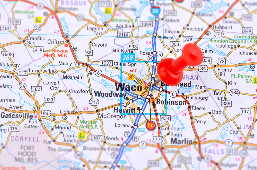 Map of Waco market in Texas