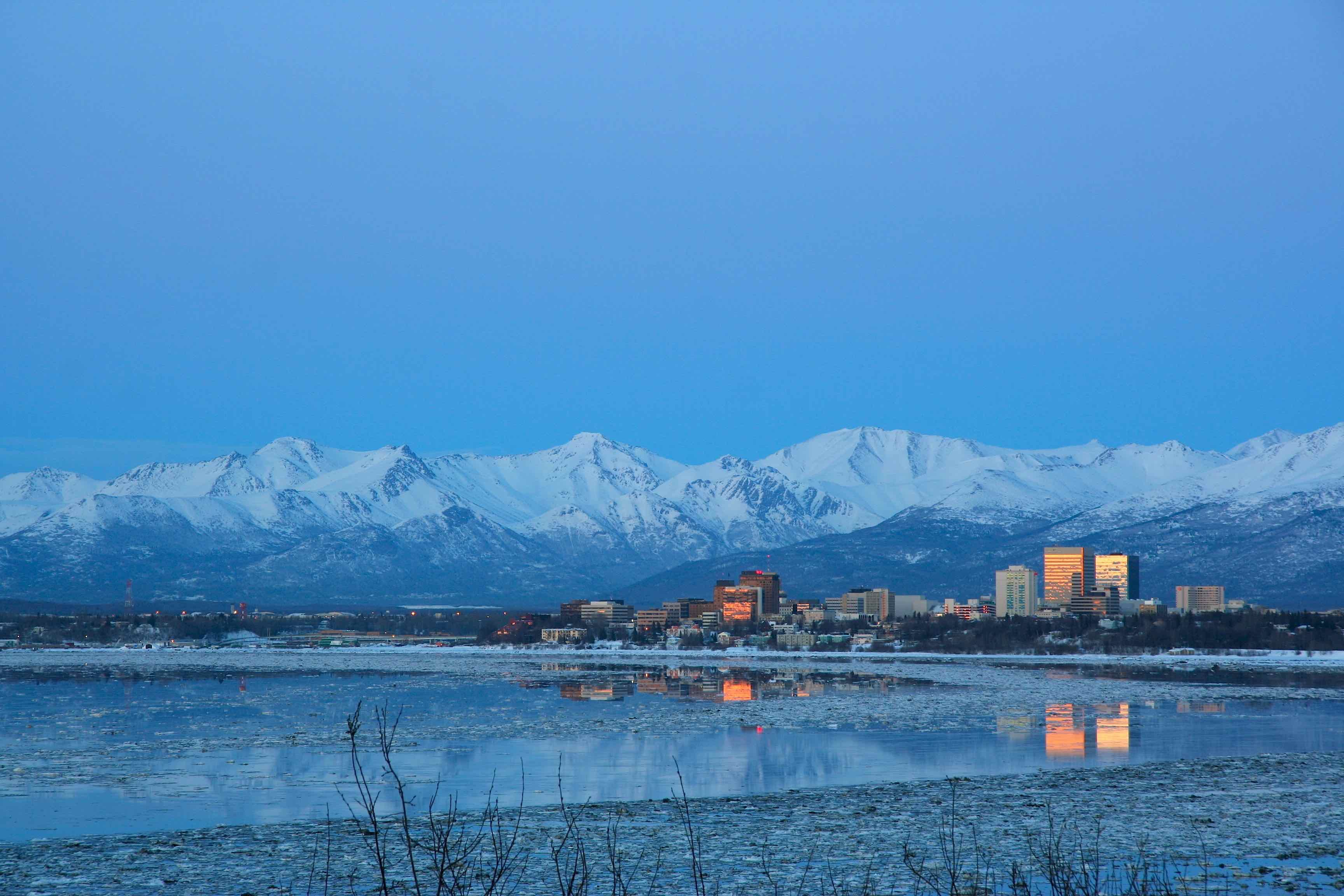View of Anchorage skyline from water.