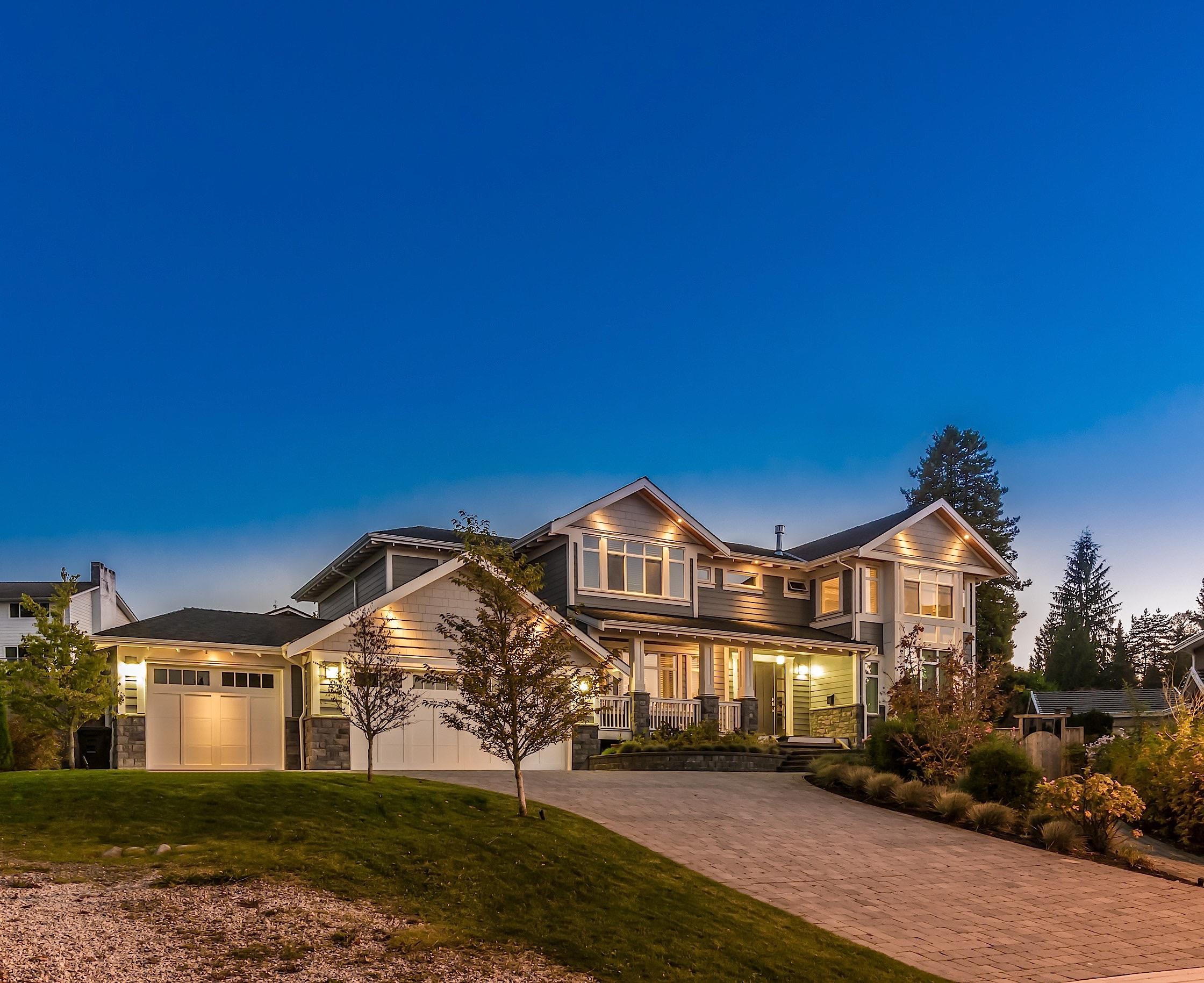 Luxurious house at dusk.