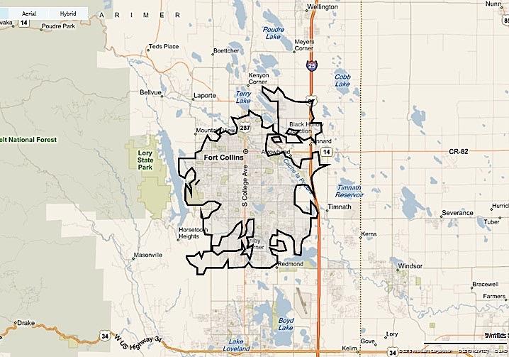 Map of Fort Collins neighborhoods