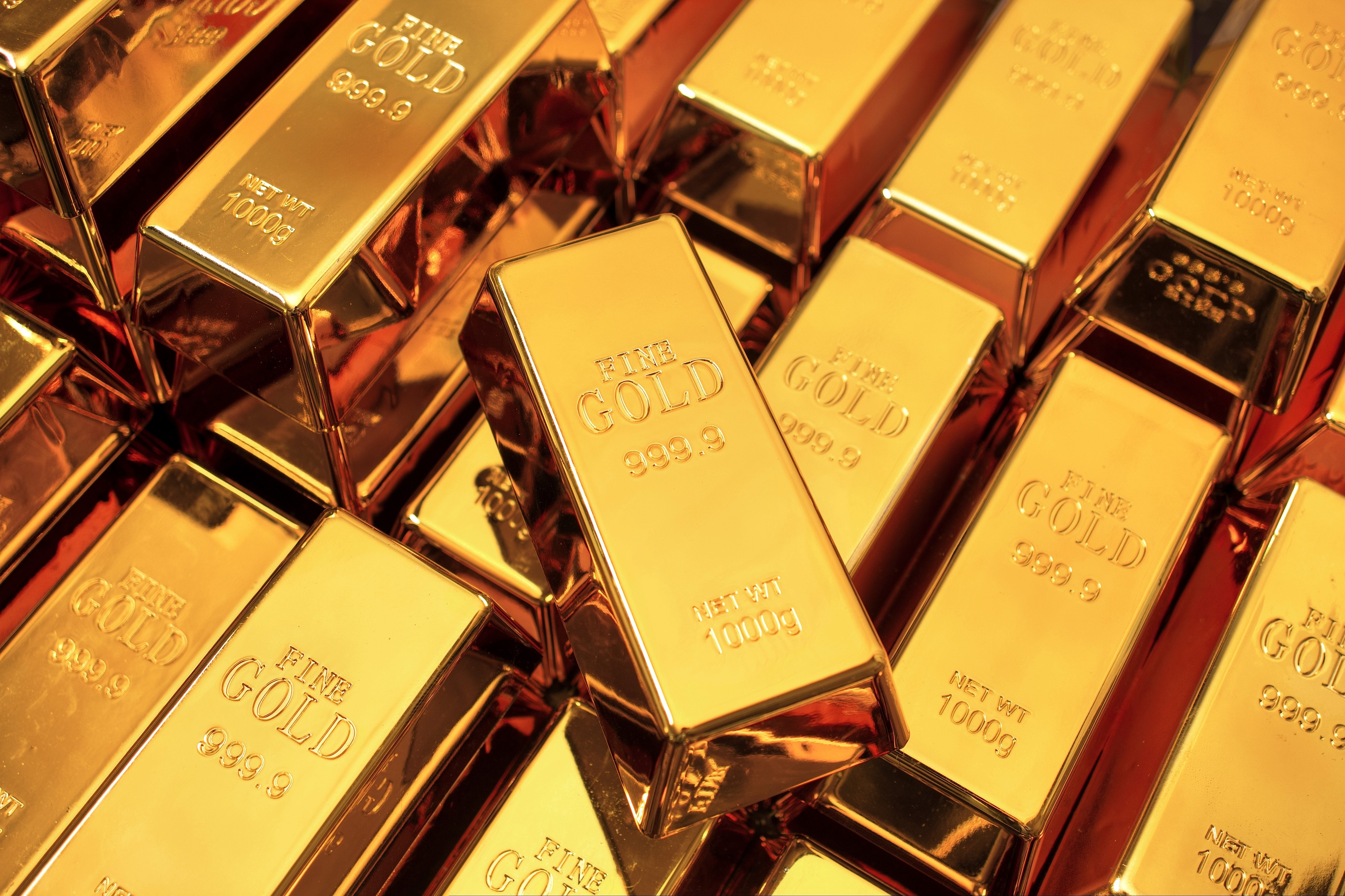Pile of gold bars.