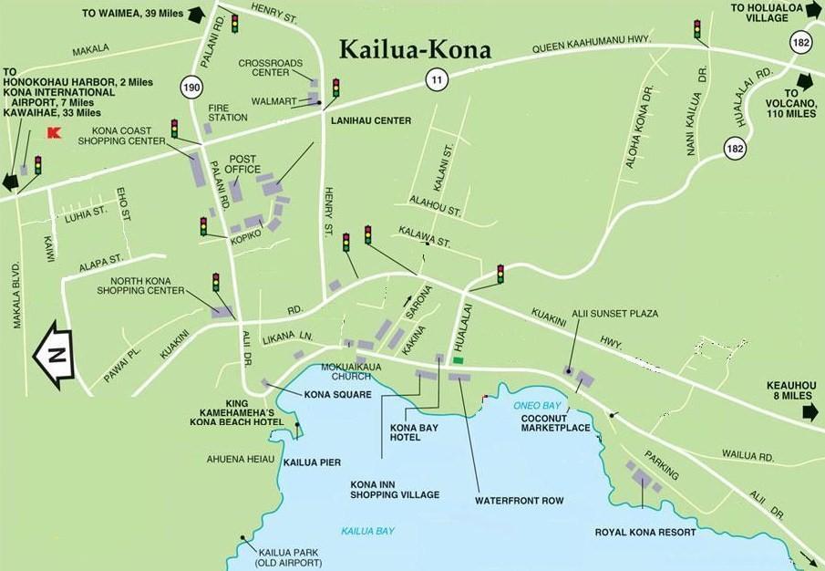 Map of Kona neighborhoods