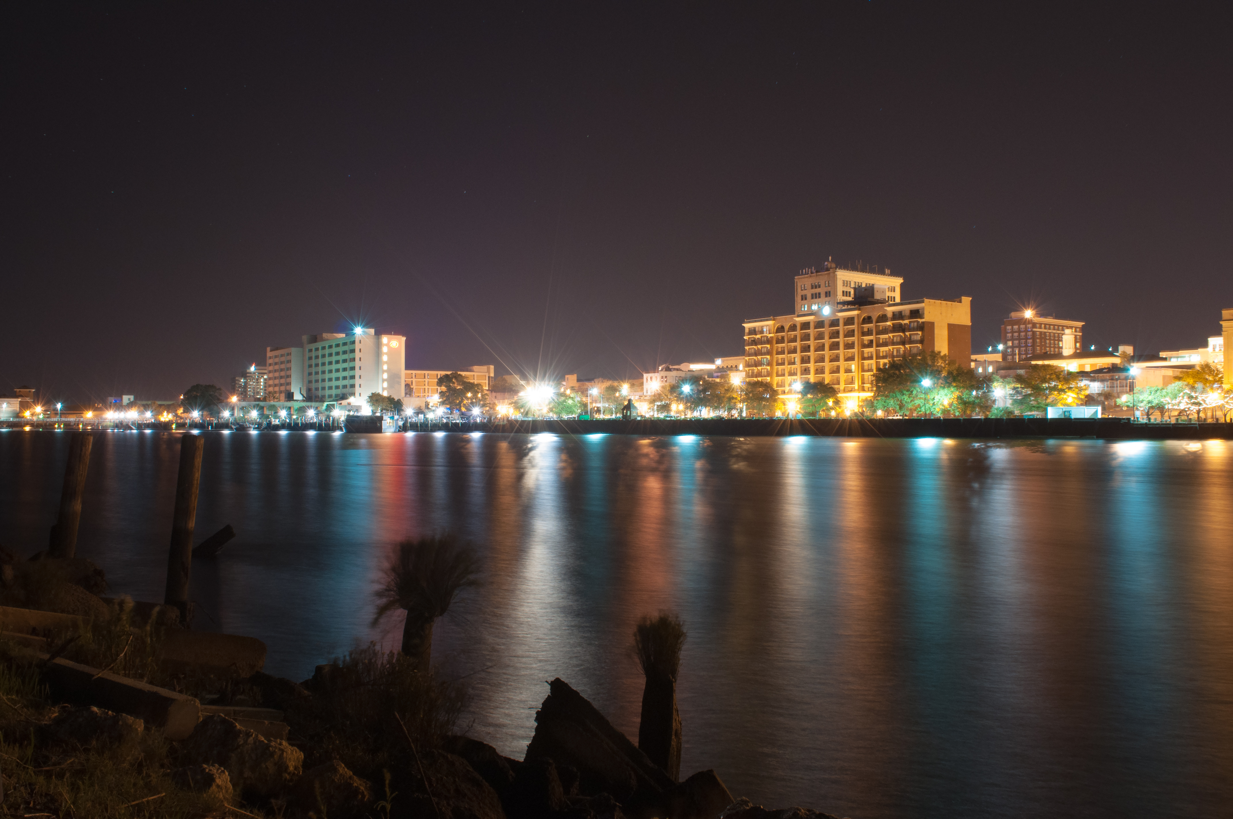 Night view of Wilmington from waterfront