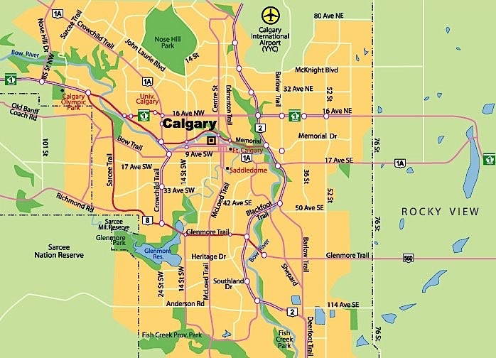 Map of Calgary neighborhoods