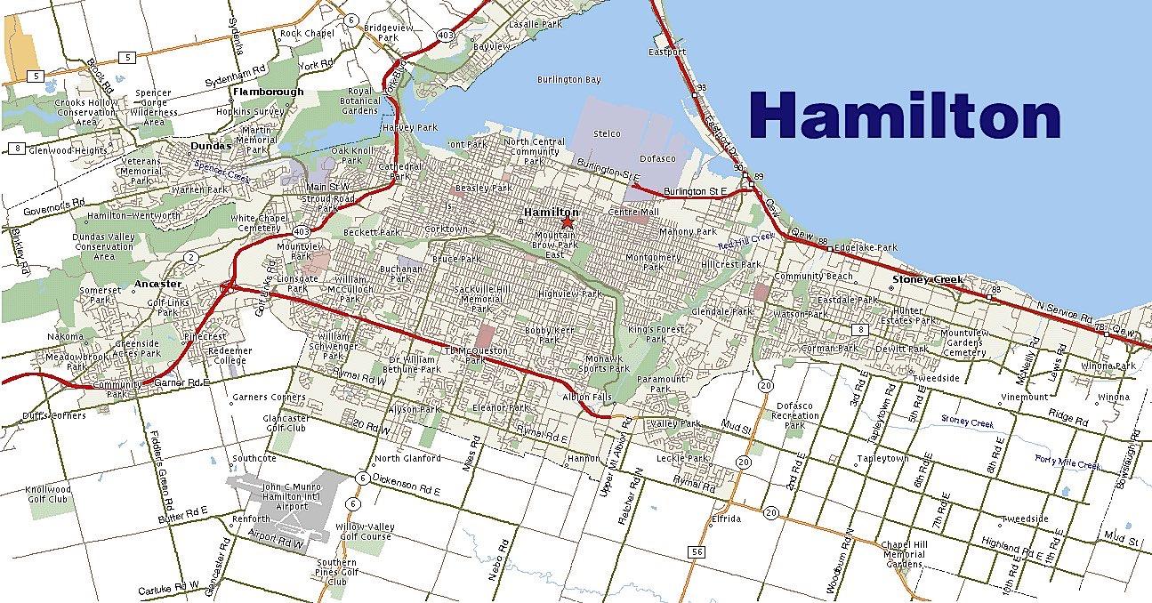 Map of Hamilton neighborhoods