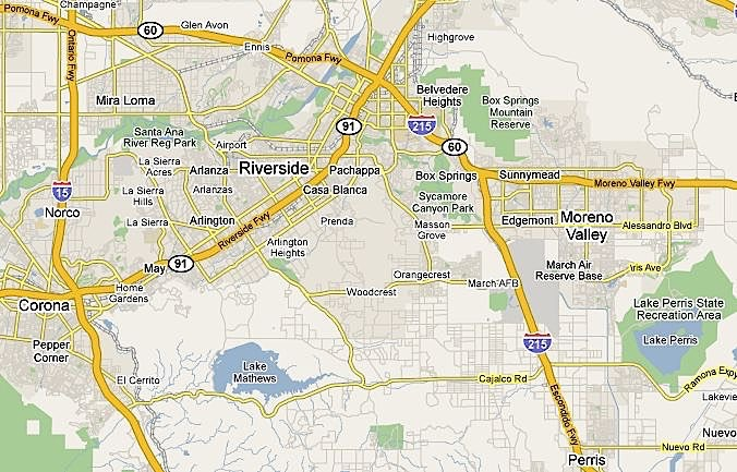 Map of Riverside neighborhoods