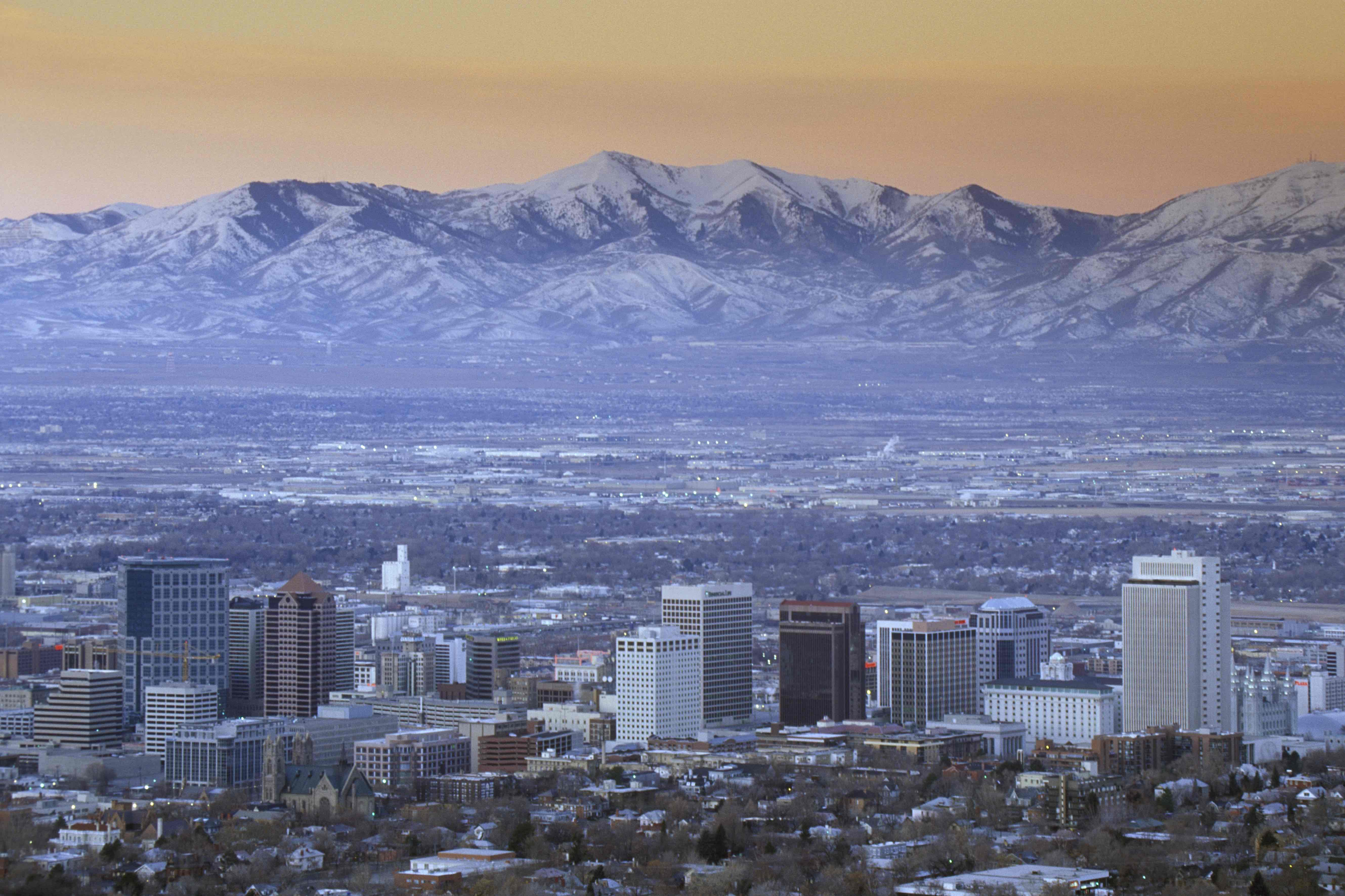 Salt Lake City real estate in front of mountains