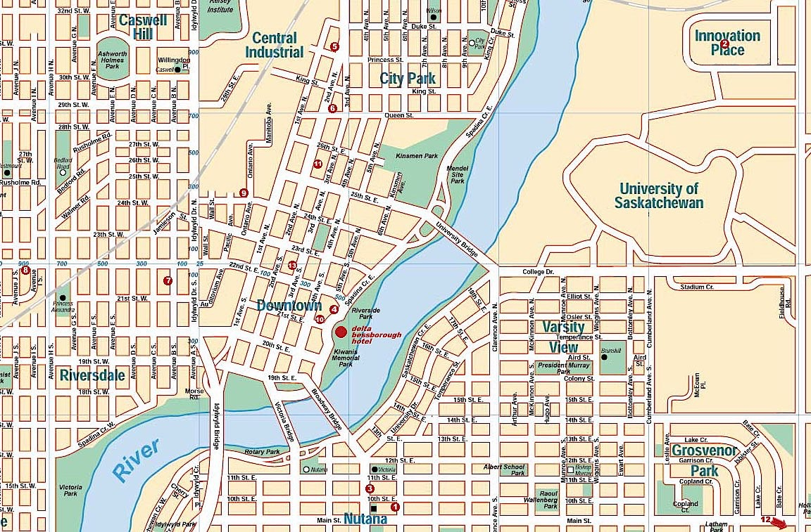 Map of Saskatoon neighborhoods