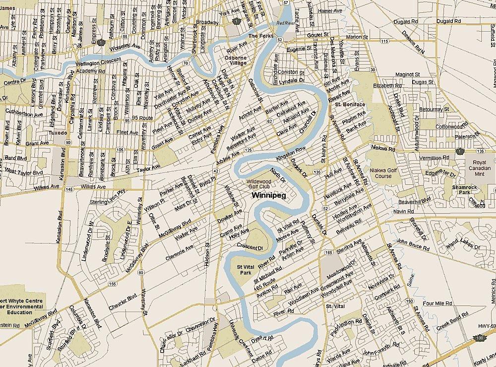 Map of Winnipeg neighborhoods