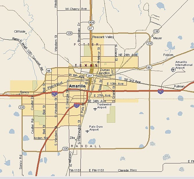 Map of Amarillo neighborhoods