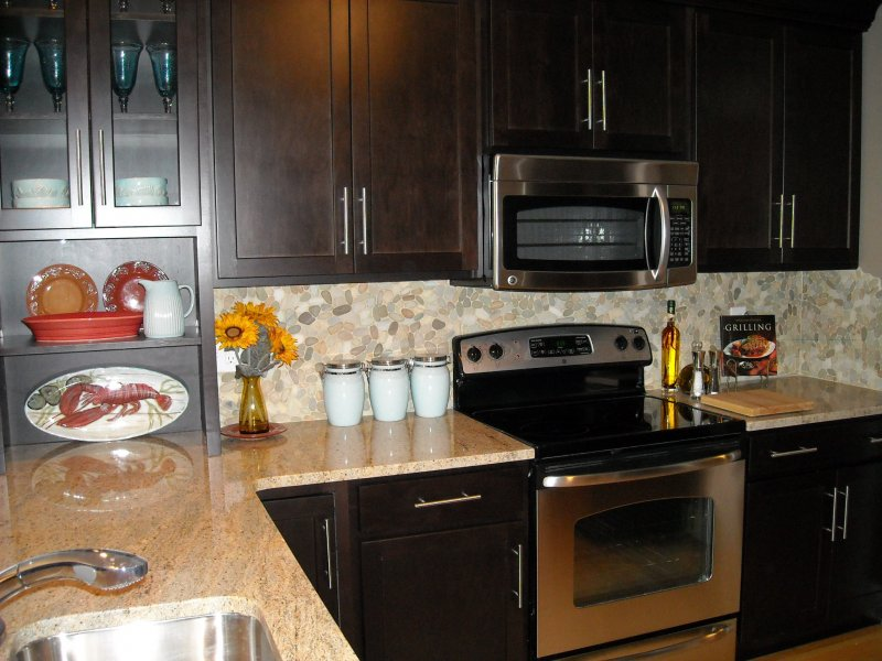 Pebble Tile Kitchen Backsplash