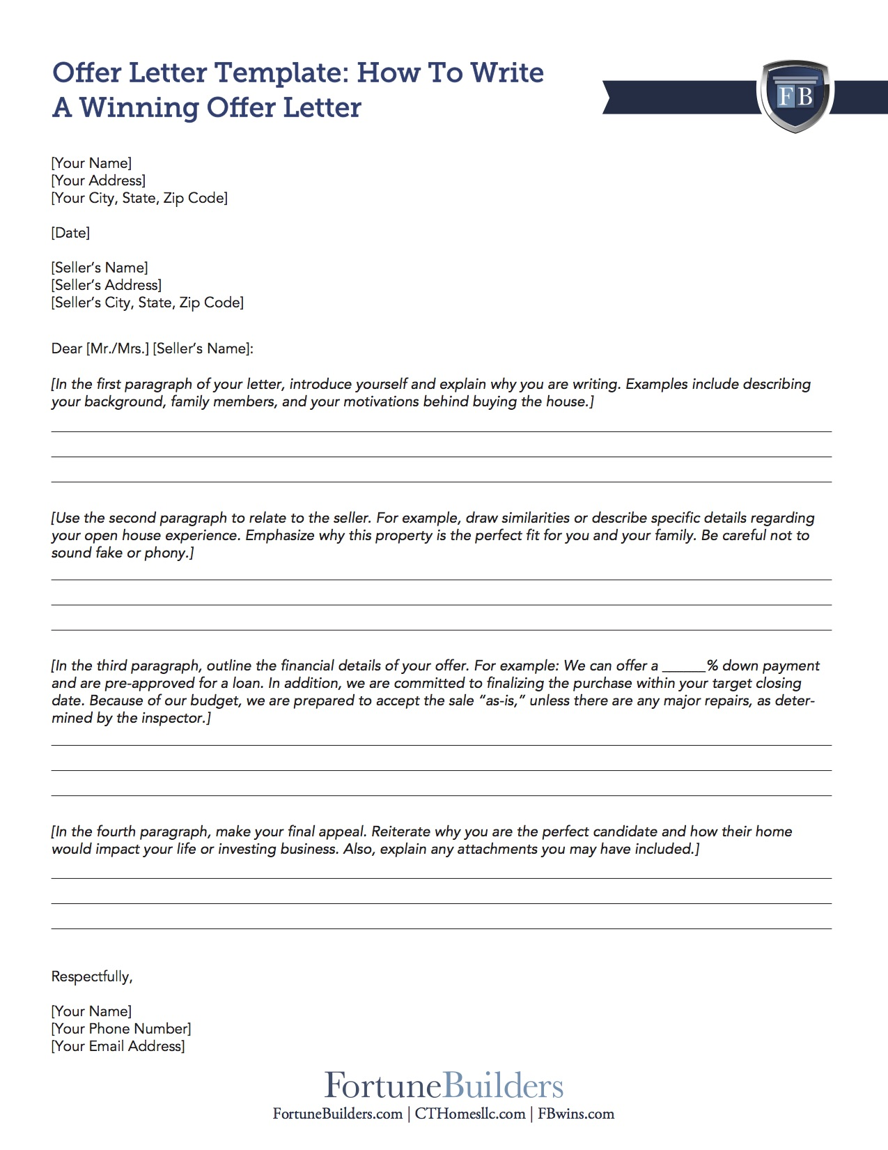 Free offer letter template for home buyers investors fortunebuilders click the image below to download the offer letter template which provides a professional layout and will help you brainstorm talking points for when you spiritdancerdesigns Image collections